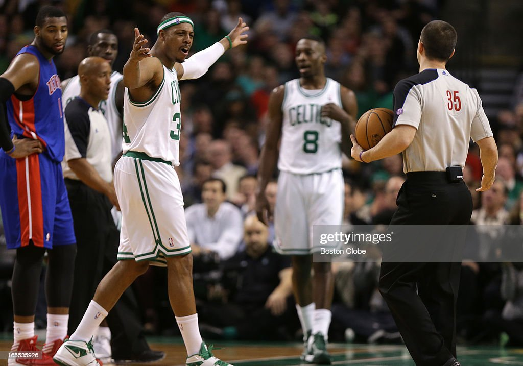 Boston Celtics small forward Paul Pierce (#34) was visibly upset after being called for a foul late in the second quarter. Celtics NBA basketball, action and reaction. The Celtics play the Detroit Pistons at TD Garden.