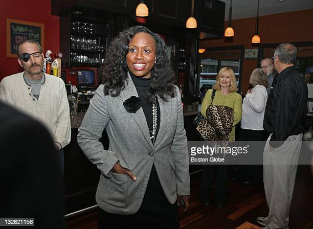 Boston City Council candidate Ayanna Pressley as she arrives for an event held at Redd's in Roslindale