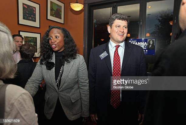 Boston City Council candidates Ayanna Pressley left and John Connolly right campaign together at an event held at Redd's in Roslindale