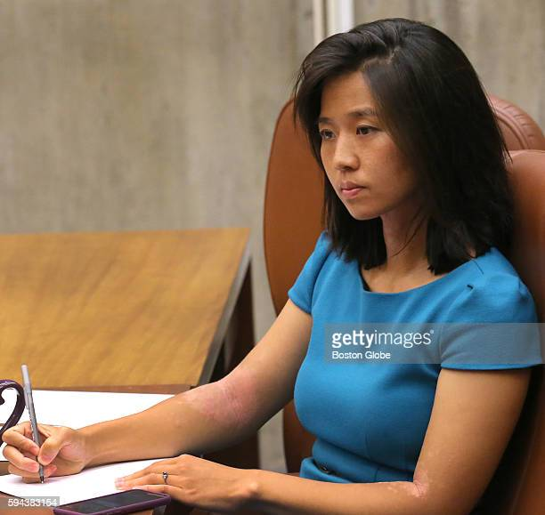 Boston City Council president Michelle Wu at a Boston City Council meeting that took up a hearing on opening a medical marijuana dispensary in...