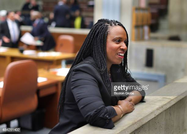 Boston City Councilor Ayanna Pressley chats before the city council meeting at Boston City Hall in Boston on Feb 1 2017