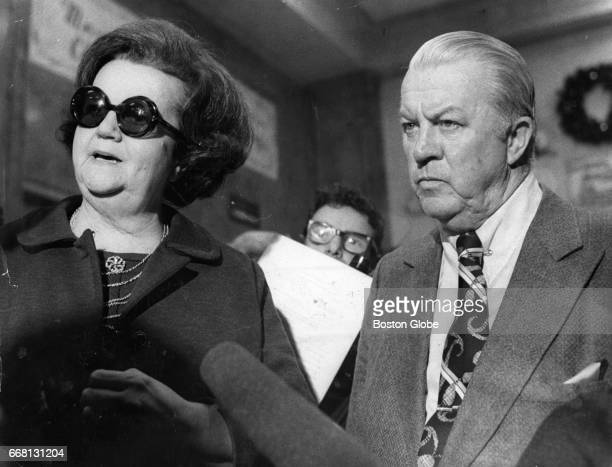 Boston City Councilor Louise Day Hicks left stands with Councilor Dapper O'Neil at the Federal Court Building in Boston awaiting a ruling by Judge W...