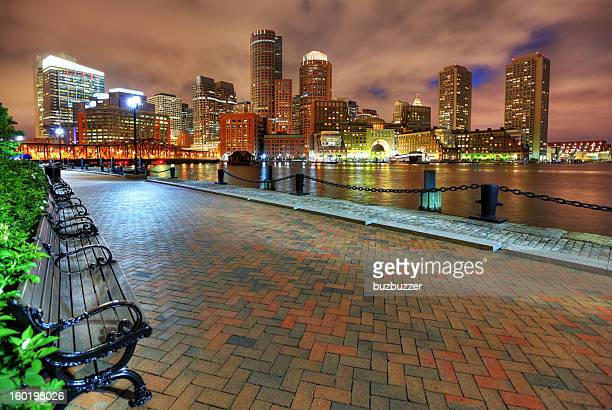 Boston City Riverwalk at Night