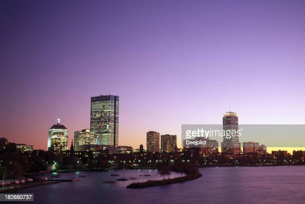 Boston City Skyline and Charles River in the USA