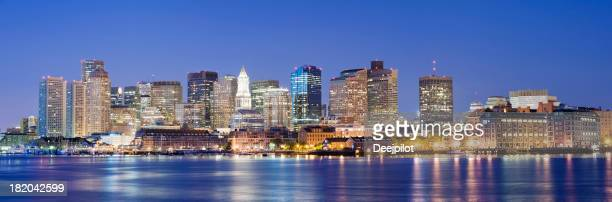 Boston City Skyline at Night in the USA
