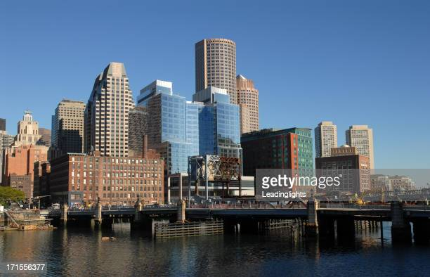Boston City Skyline on a clear blue sky day