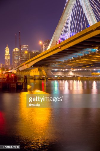 Boston Cityscape and Zakim Bridge at Night