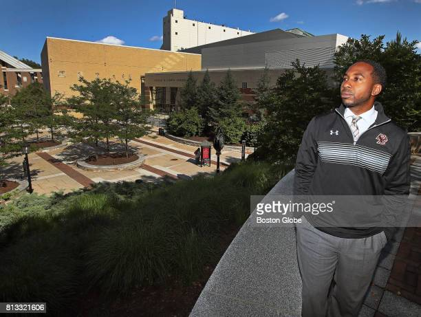 Boston College Athletic Director Martin Jarmond poses for a portrait with Alumni Stadium and Conte Forum in the background in Newton MA on Jun 28 2017