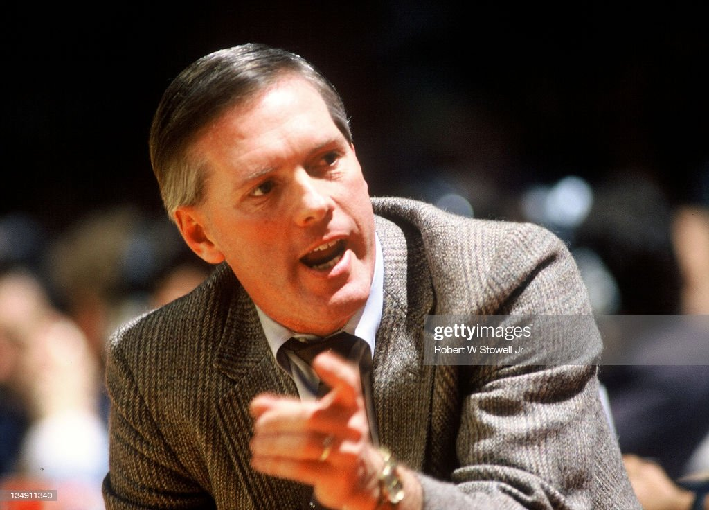 Boston College coach Jim O'Brien during a game against the University of Connecticut Hartford CT 1990