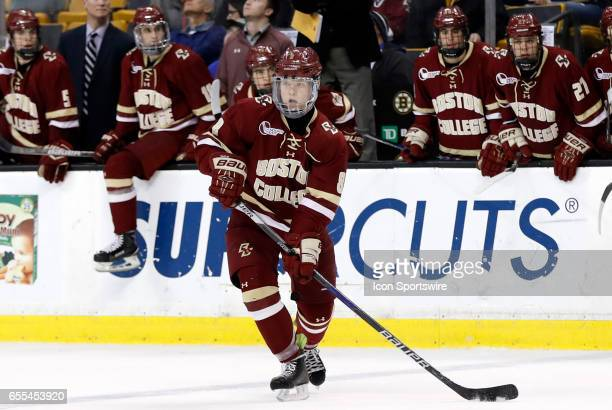 Boston College Eagles defenseman Jesper Mattila looks for the cross ice pass during the Hockey East Championship game between the UMass Lowell River...