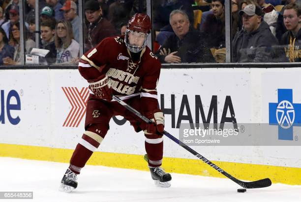 Boston College Eagles defenseman Jesper Mattila looks to clear the puck during the Hockey East Championship game between the UMass Lowell River Hawks...