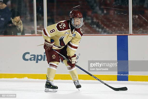 Boston College Eagles defenseman Jesper Mattila mains the point on the offensive zone face off during a Frozen Fenway NCAA Men's Division 1 hockey...