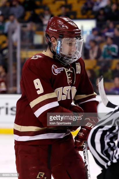 Boston College Eagles forward Austin Cangelosi gets set for a face off during a Hockey East semifinal between the Boston University Terriers and the...