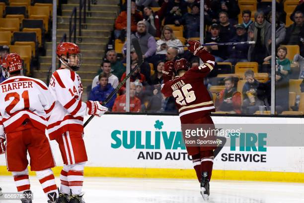Boston College Eagles forward Julius Mattila celebrates his goal during a Hockey East semifinal between the Boston University Terriers and the Boston...