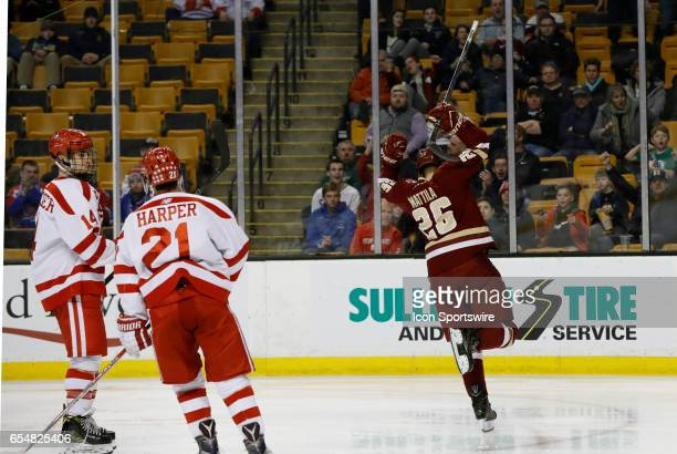 Boston College Eagles forward Julius Mattila celebrates scoring the first goal of the game during a Hockey East semifinal between the Boston...