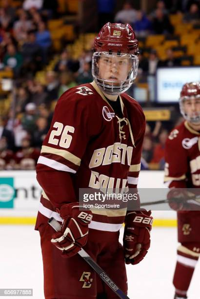 Boston College Eagles forward Julius Mattila checks with his winger before a face off during a Hockey East semifinal between the Boston University...