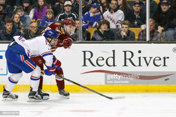 Boston College Eagles forward Julius Mattila takes a shot on goal during the first period of the Hockey East Conference Championship game between the...