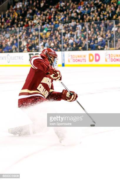 Boston College Eagles forward Ryan Fitzgerald stops in a flurry of ice to set up for a wrist shot during the first period of the Hockey East...