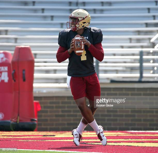 Boston College Eagles quarterback Darius Wade is pictured during football practice in Newton MA on Aug 3 2017
