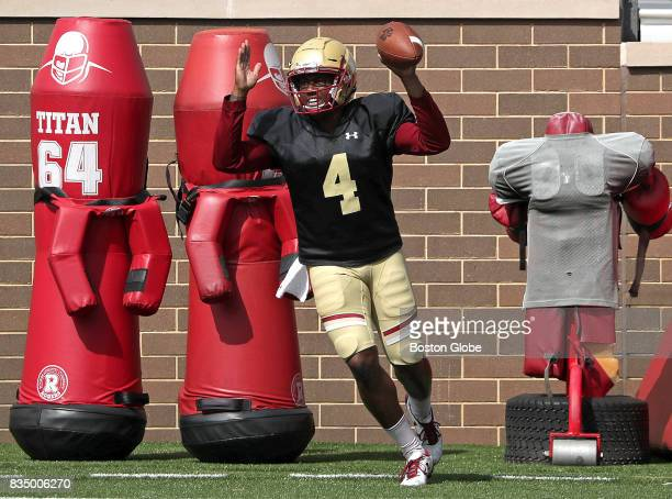 Boston College Eagles quarterback Darius Wade signals touchdown after his run into the end zone on an end around run during practice at Alumni...