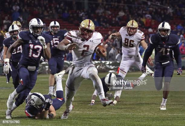 Boston College Eagles running back AJ Dillon high steps his way to the end zone for a 333 lead on his run for a touchdown Boston College faces the...