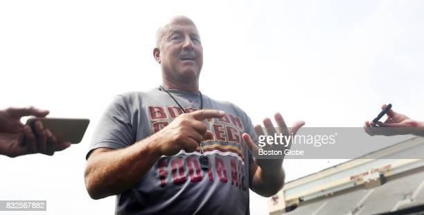 Boston College football coach Steve Addazio is interviewed after running practice at Alumni Stadium in Newton MA on Aug 15 2017