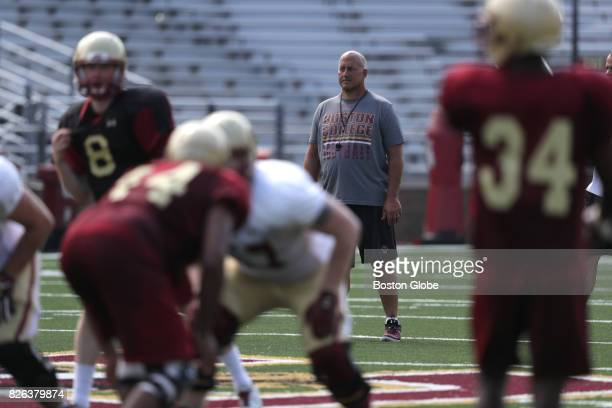 Boston College football head coach Steve Addazio looks on during the team's practice in Newton MA on Aug 3 2017