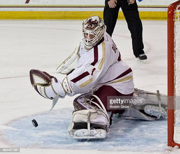 Boston College goalie Brian Billett watches the puck bounce off his pads during second period action against Boston University in a college men's ice...