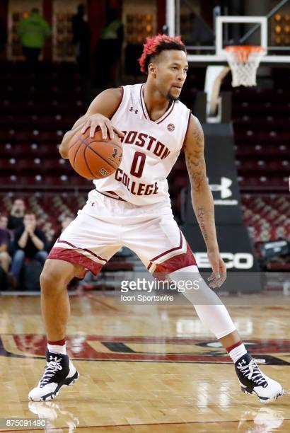 Boston College guard Ky Bowman during a game between the Boston College Eagles and the Sacred Heart University Pioneers on November 14 at Conte Forum...