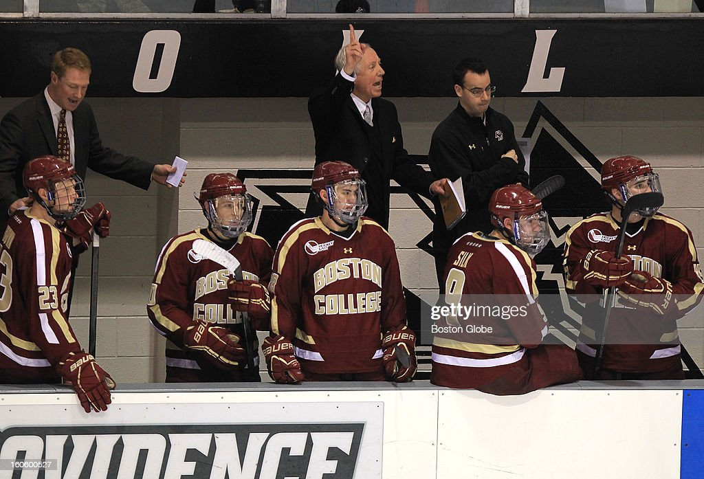 Boston College head coach Jerry York indicates a video review of an apparent third Boston College goal scored during the second period. After review the goal was ruled no good. Boston College men's ice hockey. BC plays Providence College at Schneider Arena in Providence, R.I.