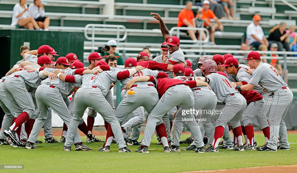 Boston College huddles before taking on the University of Miami in the opener of the NCAA Tournament's Coral Gables Super Regional at Alex Rodriguez...