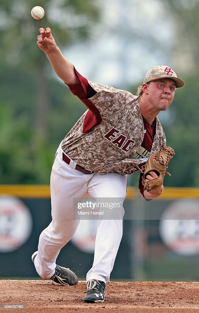 Boston College pitcher Mike King works in the first inning against the University of Miami in the NCAA Tournament's Coral Gables Super Regional at...