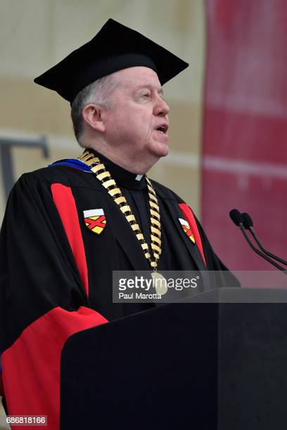 Boston College President William Leahy speaks at the Boston College 2017 141st Commencement Exercises at Boston College Alumni Stadium on May 22 2017...