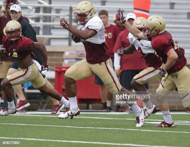 Boston College running back AJ Dillion center is pictured during football practice in Newton MA on Aug 8 2017