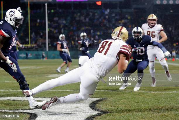 Boston College wide receiver Chris Garrison catches the ball for BC's first touchdown of the game during a game between the UCONN Huskies and the...