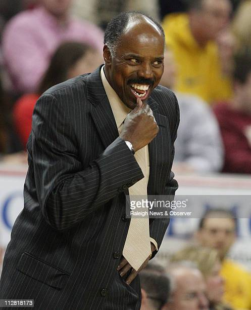 Boston College's Al Skinner smiles after the Eagles forced a firsthalf turnover against Duke Duke defeated Boston College 6663 at Conte Forum in...