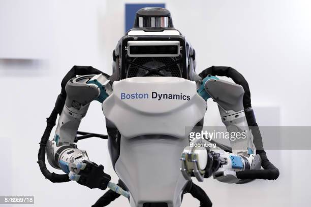 A Boston Dynamics Inc Atlas humanoid robot is displayed at the SoftBank Robot World 2017 in Tokyo Japan on Tuesday Nov 21 2017 SoftBank Chief...
