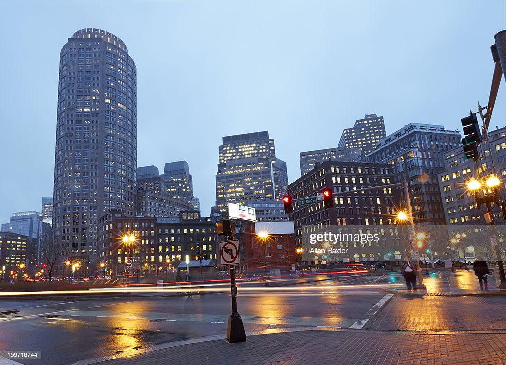 Boston financial district at dusk : Stock Photo
