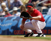 Boston first baseman Kevin Youkilis prepares to receive this throw during Sunday's game against the Minnesota Twins at City of Palms park in Ft Myers...