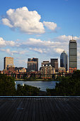 Boston skyline and the Charles River from the deck of the MIT media lab