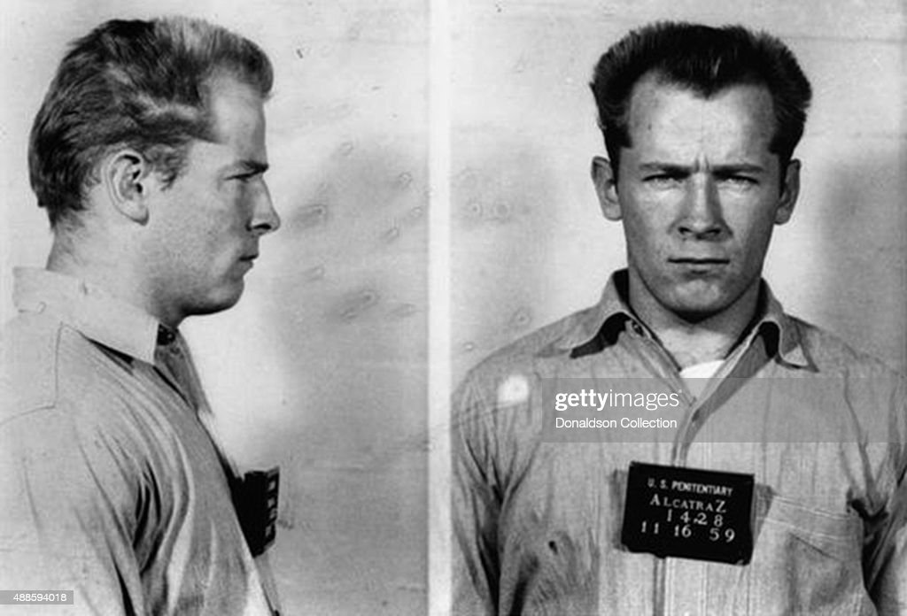 Boston gangster James 'Whitey' Bulger Jr poses for a mugshot on his arrival at the Federal Penitentiary at Alcatraz on November 16 1959 in San...