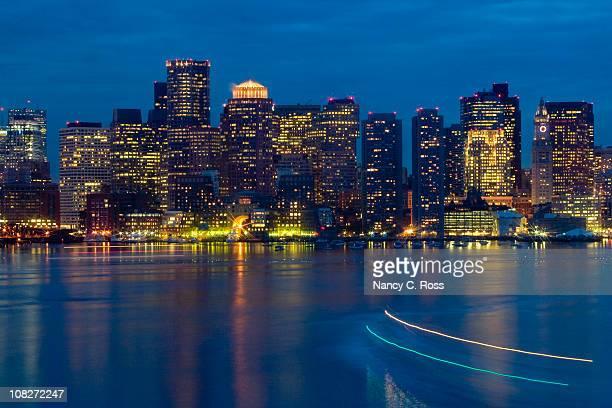 Boston Harbor, Skyline, Massachusetts, Buildings, Lights, Night, Star Filter