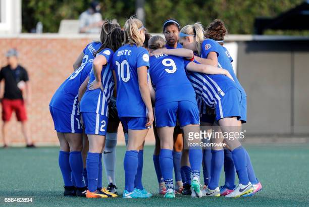 Boston huddles up during an NWSL regular season match between the Boston Breakers and Portland Thorns FC on May 19 at Jordan Field in Boston...