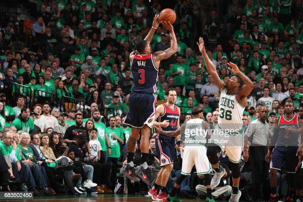 Bradley Beal of the Washington Wizards shoots the ball against the Boston Celtics during Game Seven of the Eastern Conference Semifinals of the 2017...