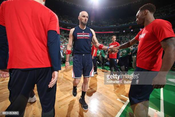 Marcin Gortat of the Washington Wizards is introduced before the game against the Boston Celtics during Game Seven of the Eastern Conference...