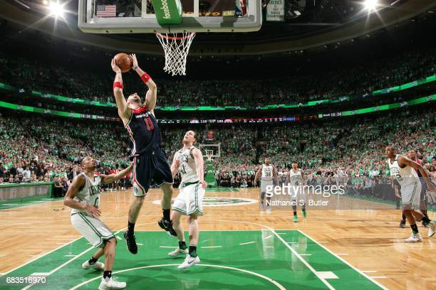 Marcin Gortat of the Washington Wizards shoots the ball against the Boston Celtics during Game Seven of the Eastern Conference Semifinals of the 2017...