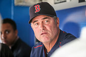 TORONTO ON MAY 8 Boston manager John Farrell talks with the baseball writers during batting practice before the game between the Toronto Blue Jays...