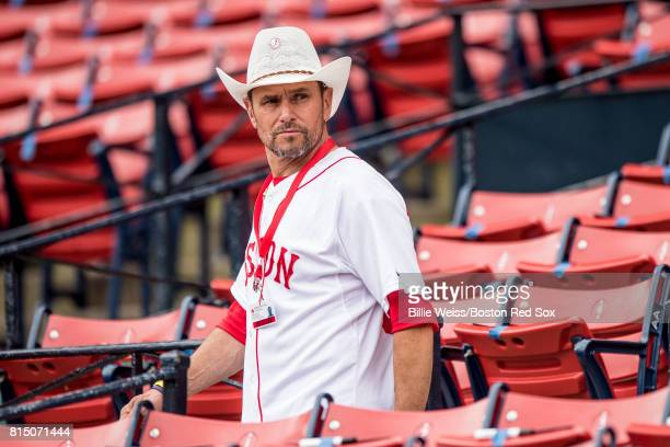 Boston Marathon bombing hero Carlos Arredondo looks on before a game between the Boston Red Sox and the New York Yankees on July 15 2017 at Fenway...