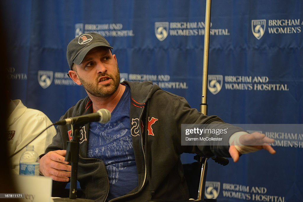 Boston Marathon bombing victim Jarrod Clowery, of Stoneham, Massachusetts describes his ordeal during a press conference at Brigham and Women's Hospital April 30, 2013 in Boston, Massachusetts. Clowery was watching the marathon with a group of friends when the second bomb went off, burning his back, arms, and legs, and embedding shrapnel into his body that was later removed by physicians.