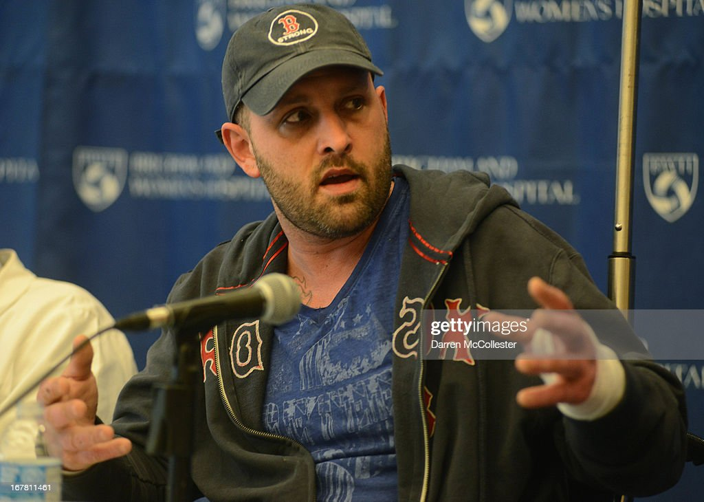 Boston Marathon bombing victim Jarrod Clowery of Stoneham, Massachusetts describes his ordeal during a press conference at Brigham and Women's Hospital April 30, 2013 in Boston, Massachusetts. Clowery was watching the marathon with a group of friends when the second bomb went off, burning his back, arms, and legs, and embedding shrapnel into his body that was later removed by physicians.